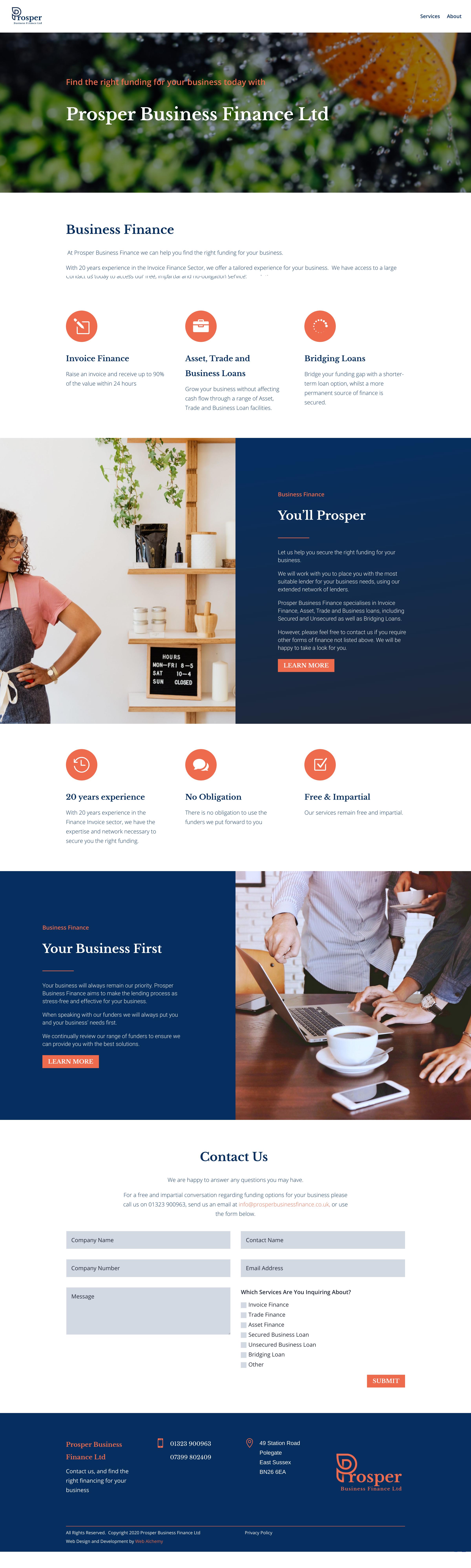 Prosper Business Finance Screen Capture